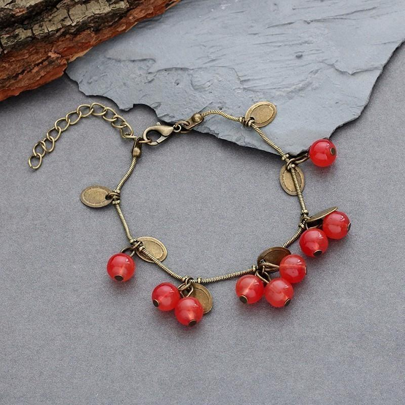 Diy Retro Red Small Cherry Bracelets For Women Girls Vintage Ethnic Beads Crystal Charm Chain Bangles Delicate Jewelry Gifts