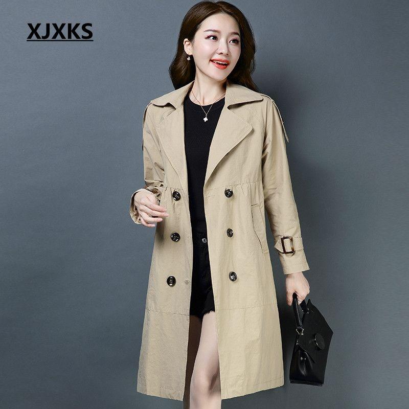 dc0daa9125d0 2019 XJXKS 2019 Manteau Femme Turn Down Collar Ladies Trench Coat For Women  High Quality Button Fashion Autumn Clothes Long Coat From Robertiu, ...