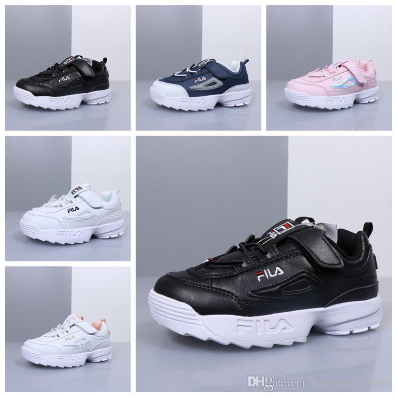 234754f74 Acheter Fila Disruptors II 2 Big Kids Designer Chaussures Pour Garçons  Filles Noir Casual Chaussures Blanc Filas Formateurs Pour Enfants FILE  Sport Sneaker ...
