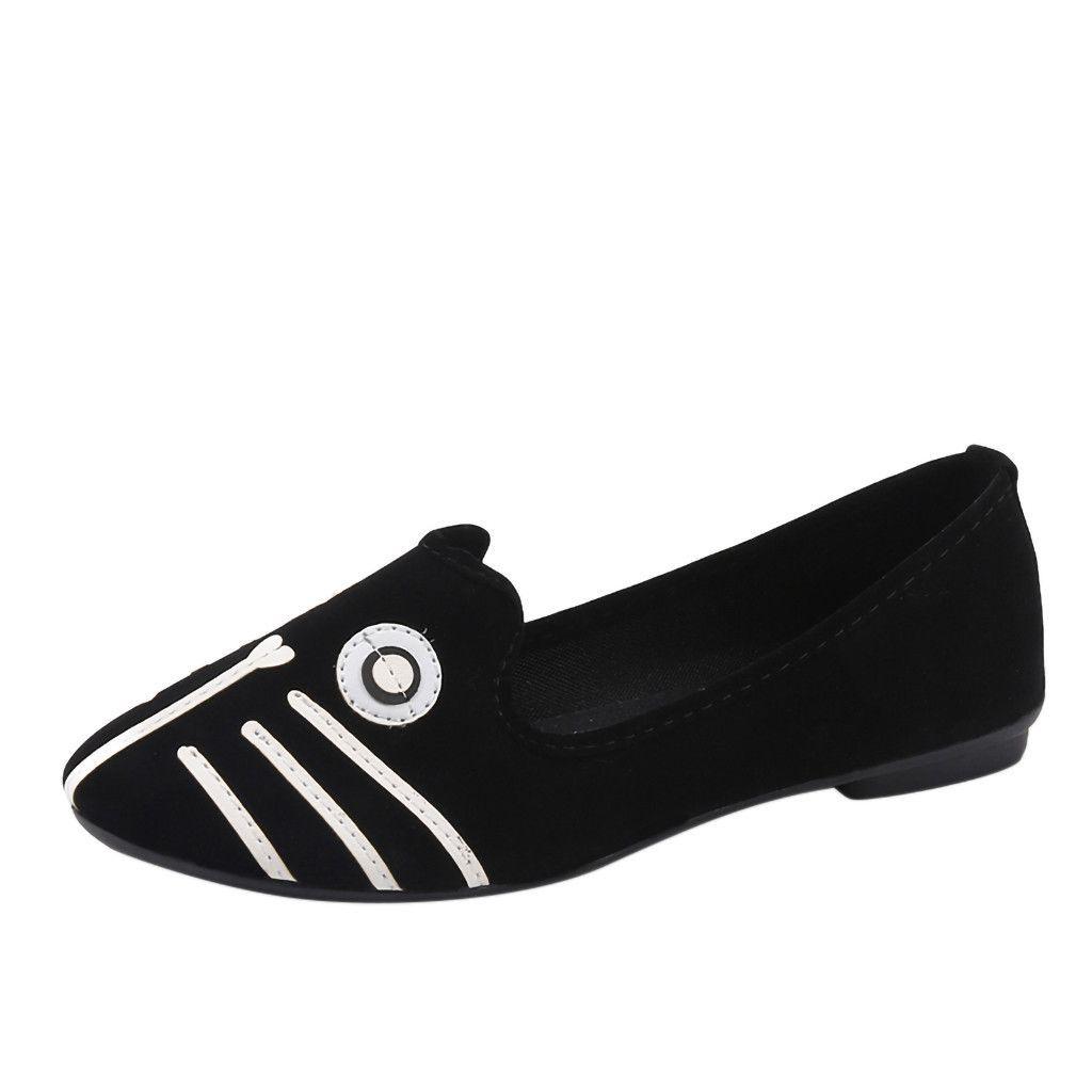248c044222b820 Bout rond de chaussures Muqgew noir femmes Slip Sur Talon Cartoon Animal  Casual Mocassins Doug Single Walk # 1207