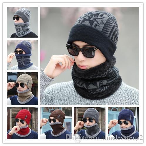 купить оптом зима мужчины шляпа шарф набор вязаная шляпа с капюшоном