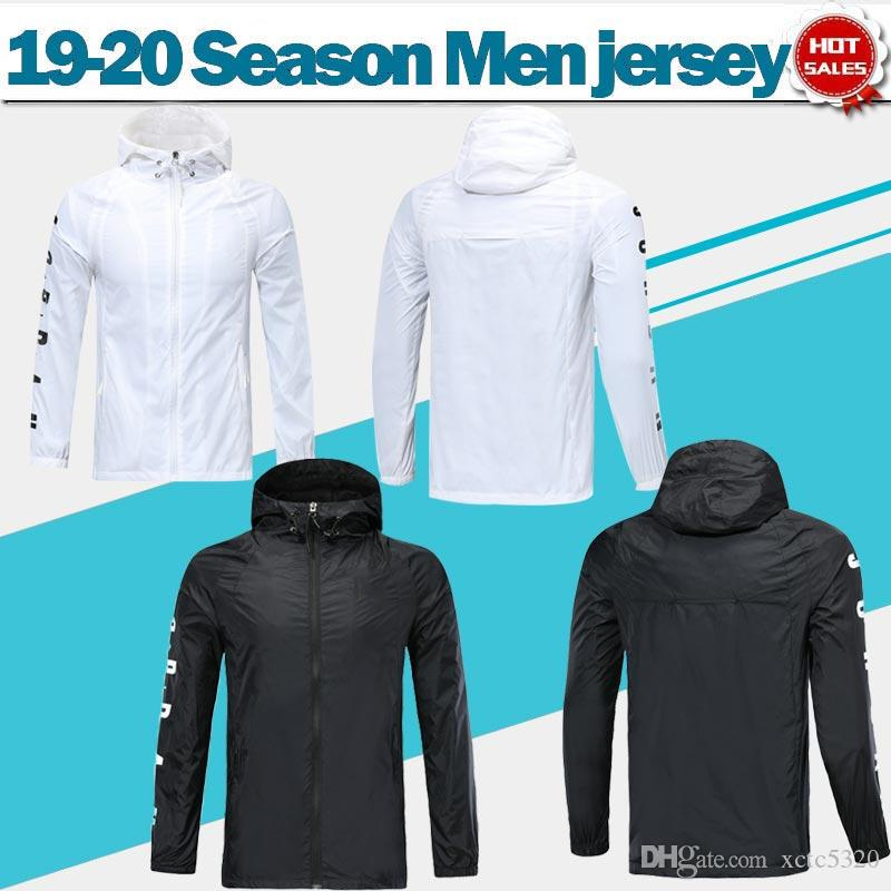 Paris Wind Mantel wissen lange Ärmel 19/20 schwarzen Trainings-Uniform-Regen-Mantel Superjoden Fußballjacke