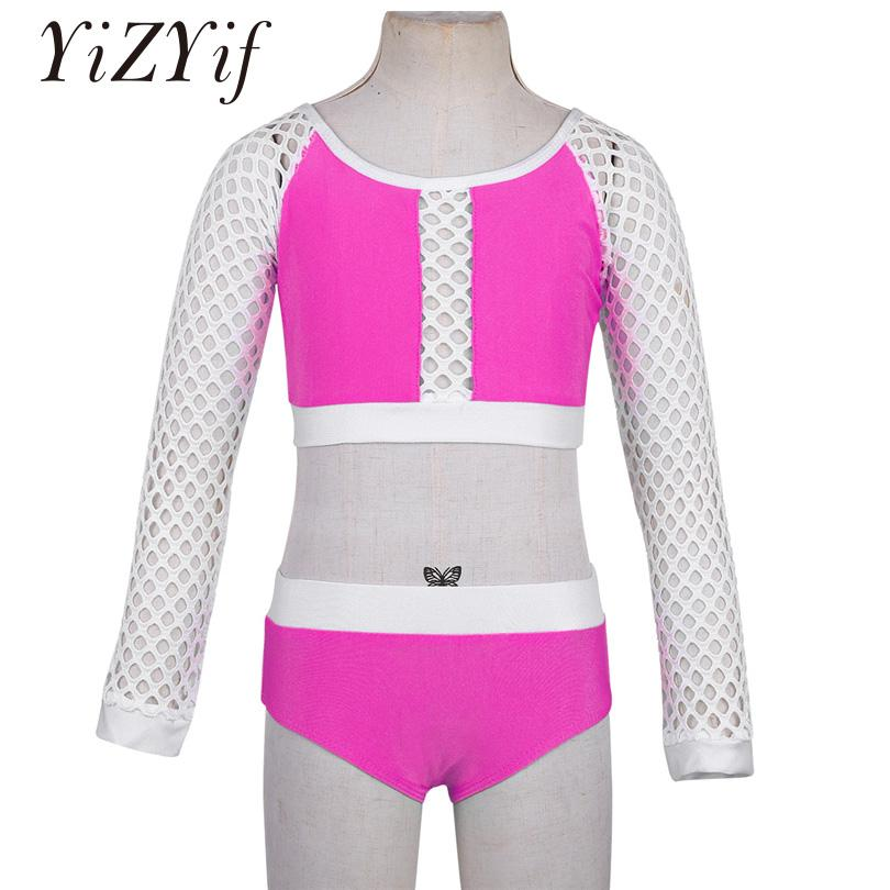 a222109a677 2019 YiZYiF Girls Dance Set Net Sleeves Dancewear Two Piece Long Fishnet  Crop Top Bottoms Outfit Set For Dancing Stage Performance From Yingluo