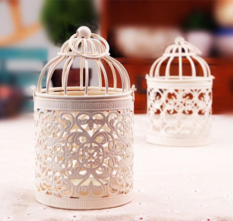 Decorative Birdcage Type Candles Holders 5 Patterns Metal Hollow