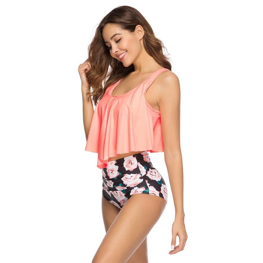 e7be67e639 High Waist Bikini Mujer 2019 Sexy Swimsuit Women Swimwear Ruffle Vintage  Bikini Set Swimsuit Biquini Tankini Bathing Suits
