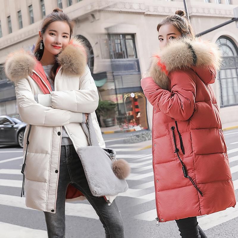 67b01f4ae Fashion winter Women's down jacket oversize Dovetail white duck down  jackets large Animal fur collar Hooded Parka 2108 New