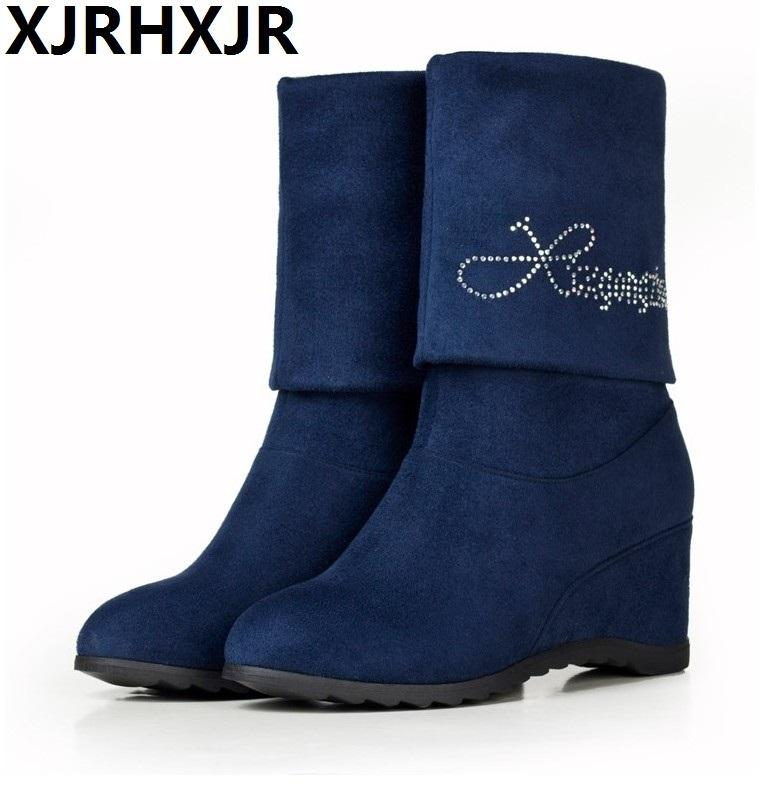 783c4fe37fb7 XJRHXJR Woman Wedges Boots Winter High Heel Shoes Women Half Short Shoes  Fashion Concise Boots Female Footwear Size 35 39 Rain Boots For Women Wedge  Booties ...