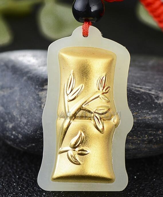 6c203f50a0bf Compre Blanco Natural HeTian Jade + 18 K Oro Sólido Chino Lindo Bambú Lucky  Amuleto Colgante + Collar Libre Certificado De Joyería Fina A  29.63 Del ...