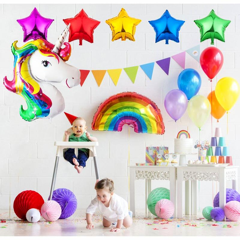 2019 Heap Ballons Amp Accessories Unicorn Balloon Pink Purple Latex Foil Stars Happy Birthday Balloons Party Decorations Heart Inflatable Un