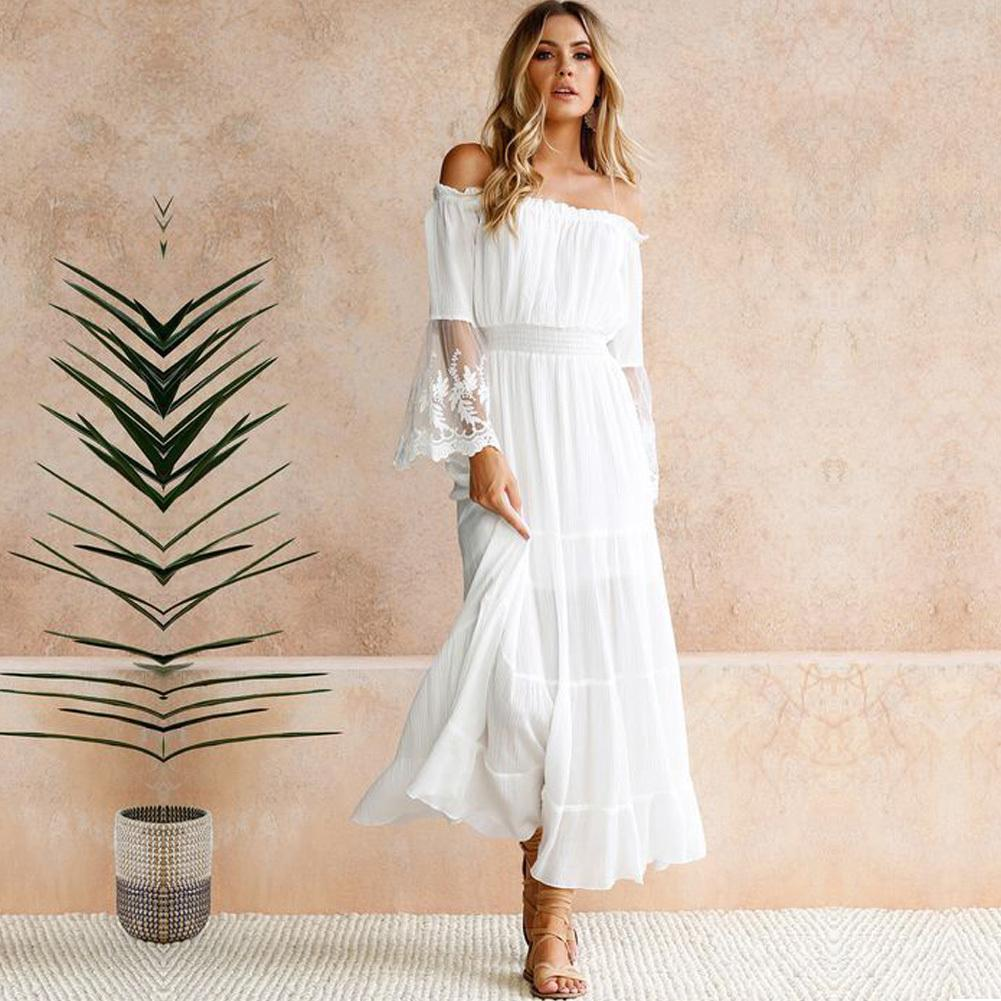 eda4a21087 Sexy Women Maxi Long Dress Off Shoulder Crochet Lace Flare Sleeve Beach  Dress Elegant Evening Party Boho Dress White Robe Femme Black Sundresses  Cute Party ...