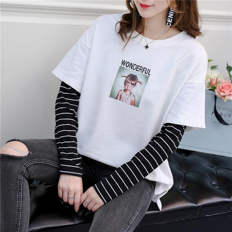 5aaff603bdd51 New arrival 2018 Spring Women's cartoon printed letters hoodies sweatshirt  long sleeve o-neck Hoodies Stitching color BTS Tops