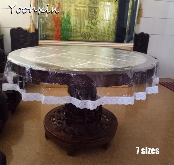 Grosshandel HEIssER Spitze Weiches Glas Runde Transparent PVC Kunststoff Wachstuch Tee Tischdecke Wasserdichte Weihnachten Hochzeit Dekor Von