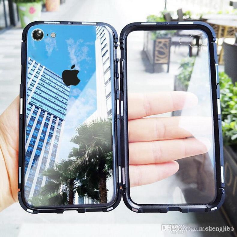 watch 601e6 5eae9 Magneto Magnetic Adsorption metal case for iphone X iphone 7 8 case luxury  cover for iphone 8 7 Plus magnet tempered glass cases