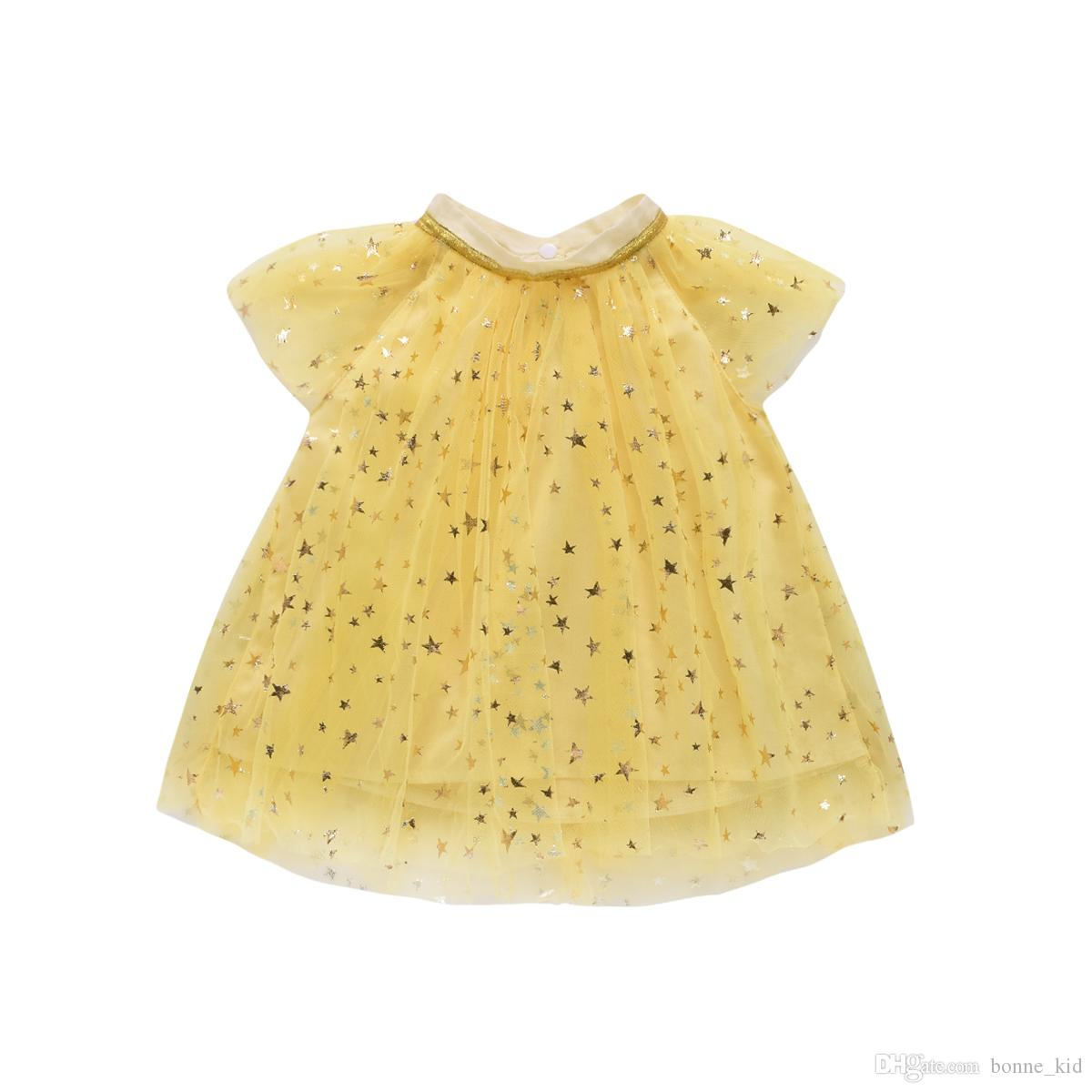 Summer Kids Girls Princess Sparkling Stars Dresses Tunic Kid Baby Party Pageant Yellow Lace Tulle Dress Children Clothes