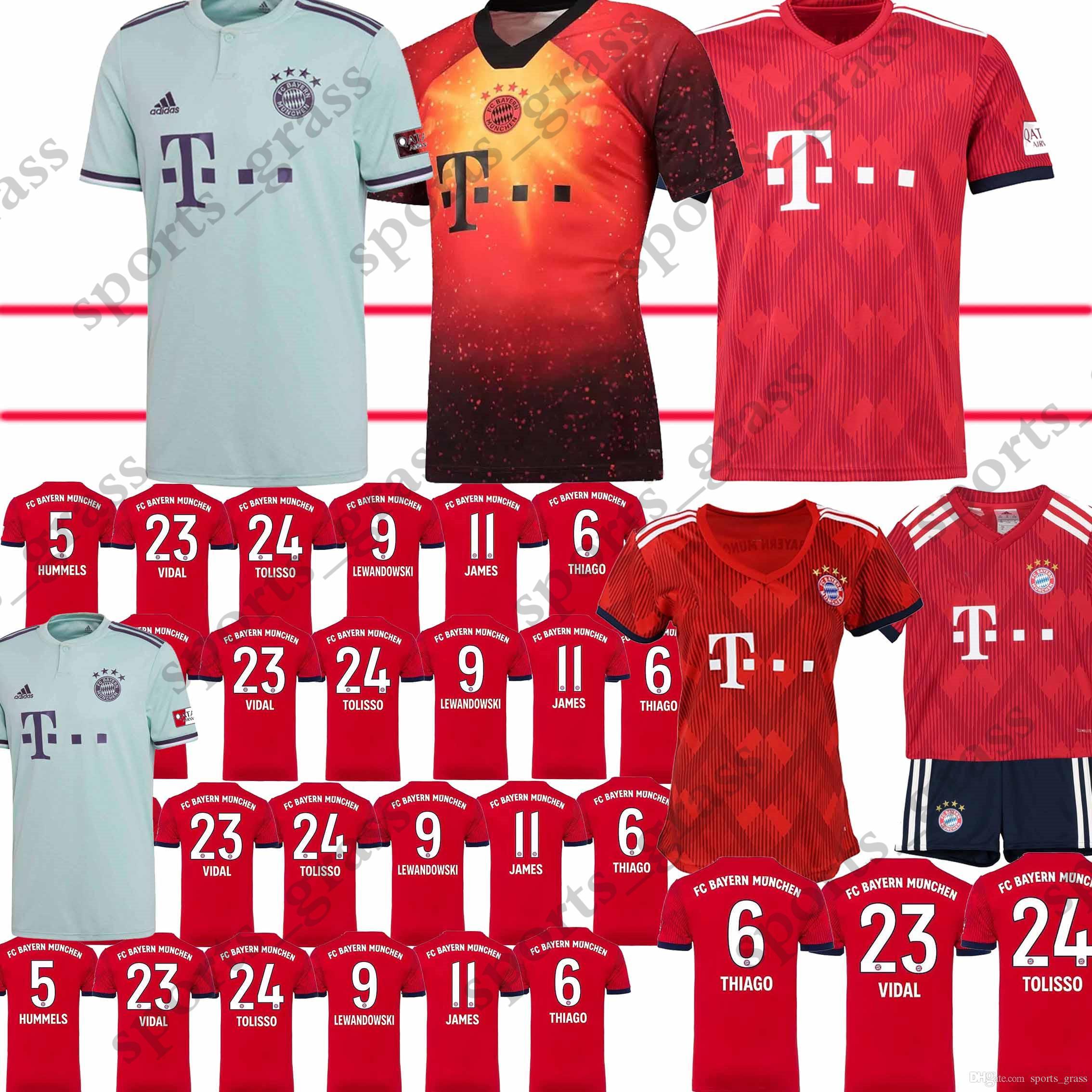 best service 0b136 4287d Size S-XL Bayern Munchen Jersey 18 19 Men LEWANDOWSKI ROBBEN JAMES MULLER  HUMMELS Bayern Munich Football Shirt Red Green Bayern Jersey Tops