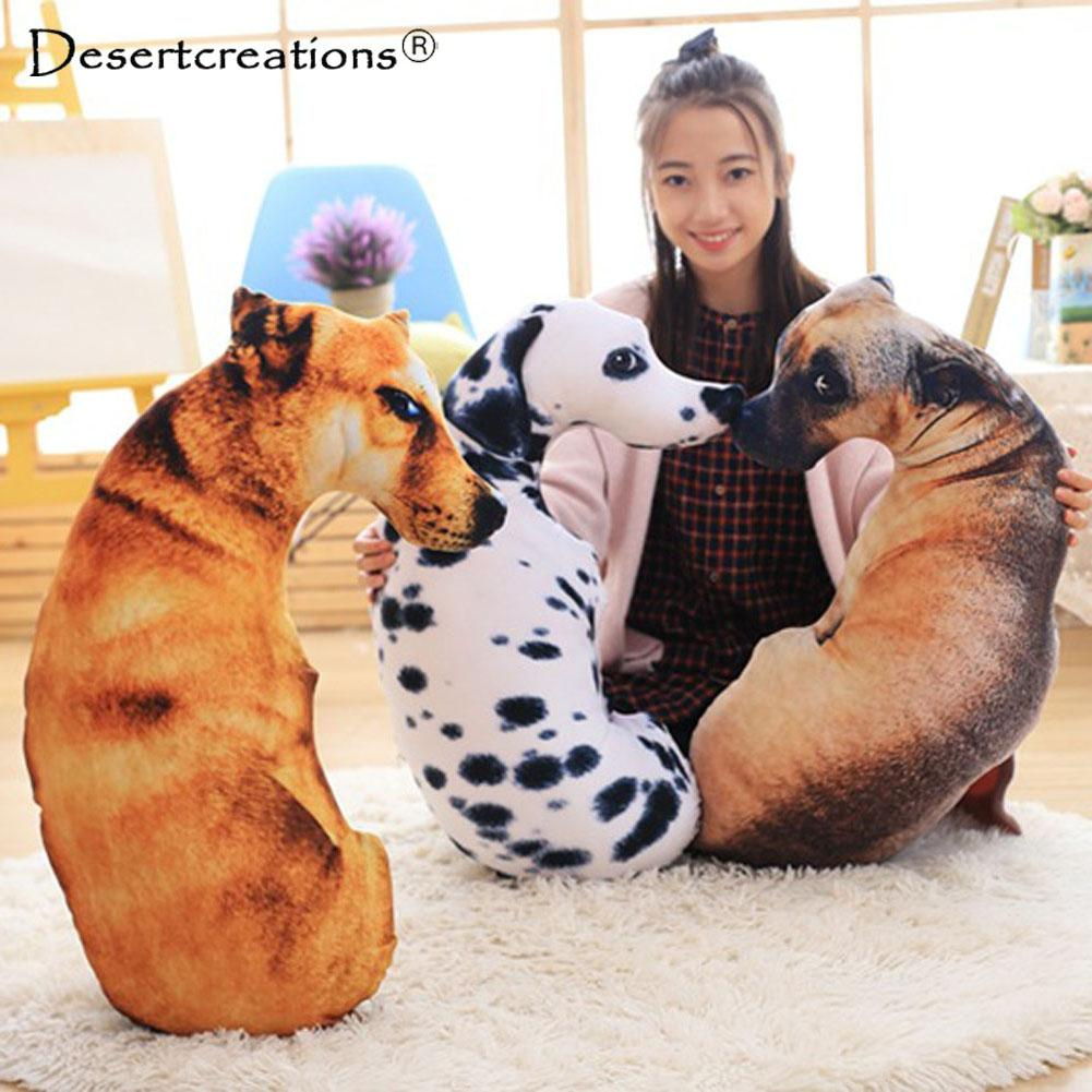 3D Animal Cat Dog Shape Throw Pillow Cotton Plush Soft Office Cushion Gift Cute Sofa Home Decor