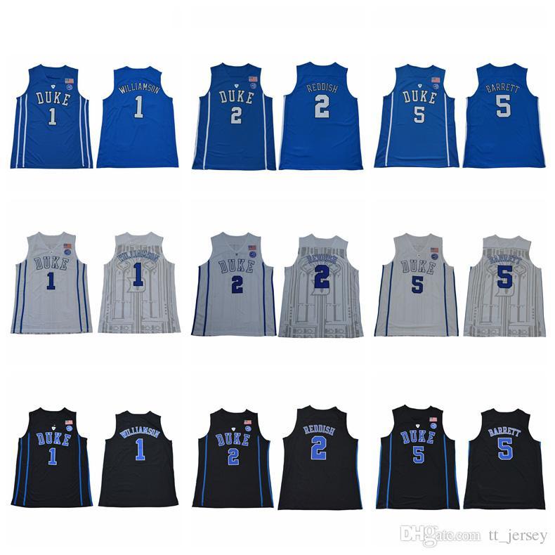 1b956411 Men's NCAA Duke Blue Devils 1 Zion Williamson 2 Cam Reddish 5 RJ Barrett  Jersey Royal Blue Black White College Stitched Basketball Jerseys Zion  Williamson ...