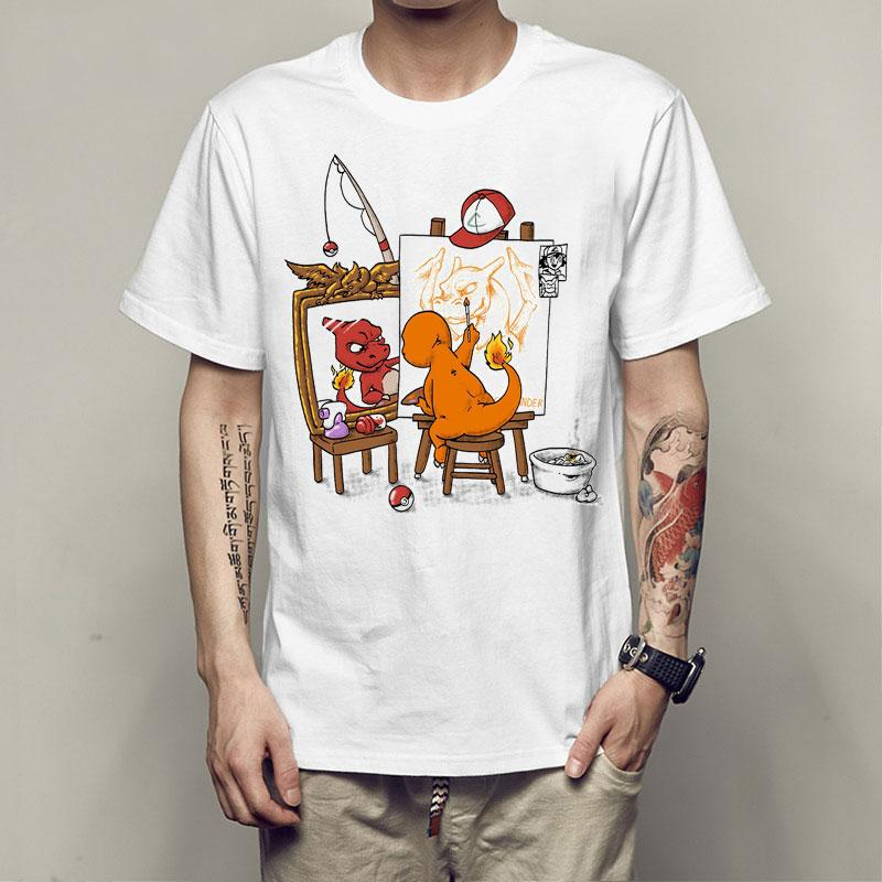 ad620d32d Fashion Anime Norman Rockwell's Triple Self - Portrait Funny Wholesale  Discount Print T-shirt Summer Men Personality Charizard T Shirt Tops