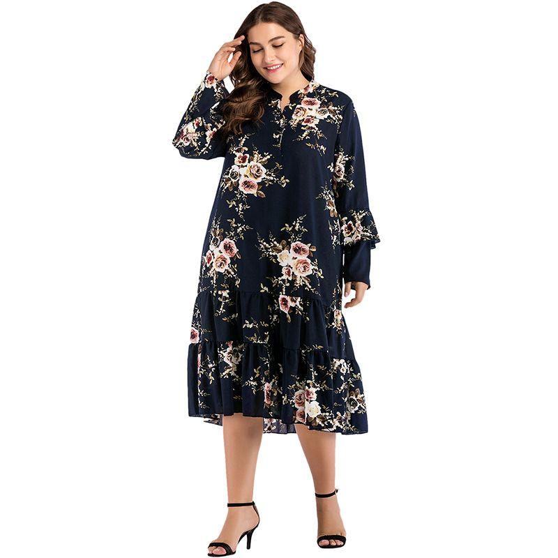 1468c37032 NEW Women Plus Size Floral Print A Line Dress V Neck Long Sleeve Ruffle  Loose Midi Casual Bohemian Beachwear Elegant Party Dress Summer Dress Short  Dresses ...
