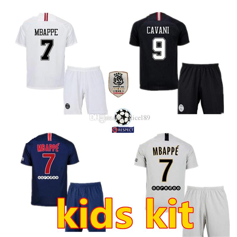 5768e4343 2018 Psg Kid Jersey 18 19 Champions League MBAPPE CAVANI VERRATTI TRACKSUIT  MARIA Jordam Football Maillot De Boy Football Kit UK 2019 From Alicel89
