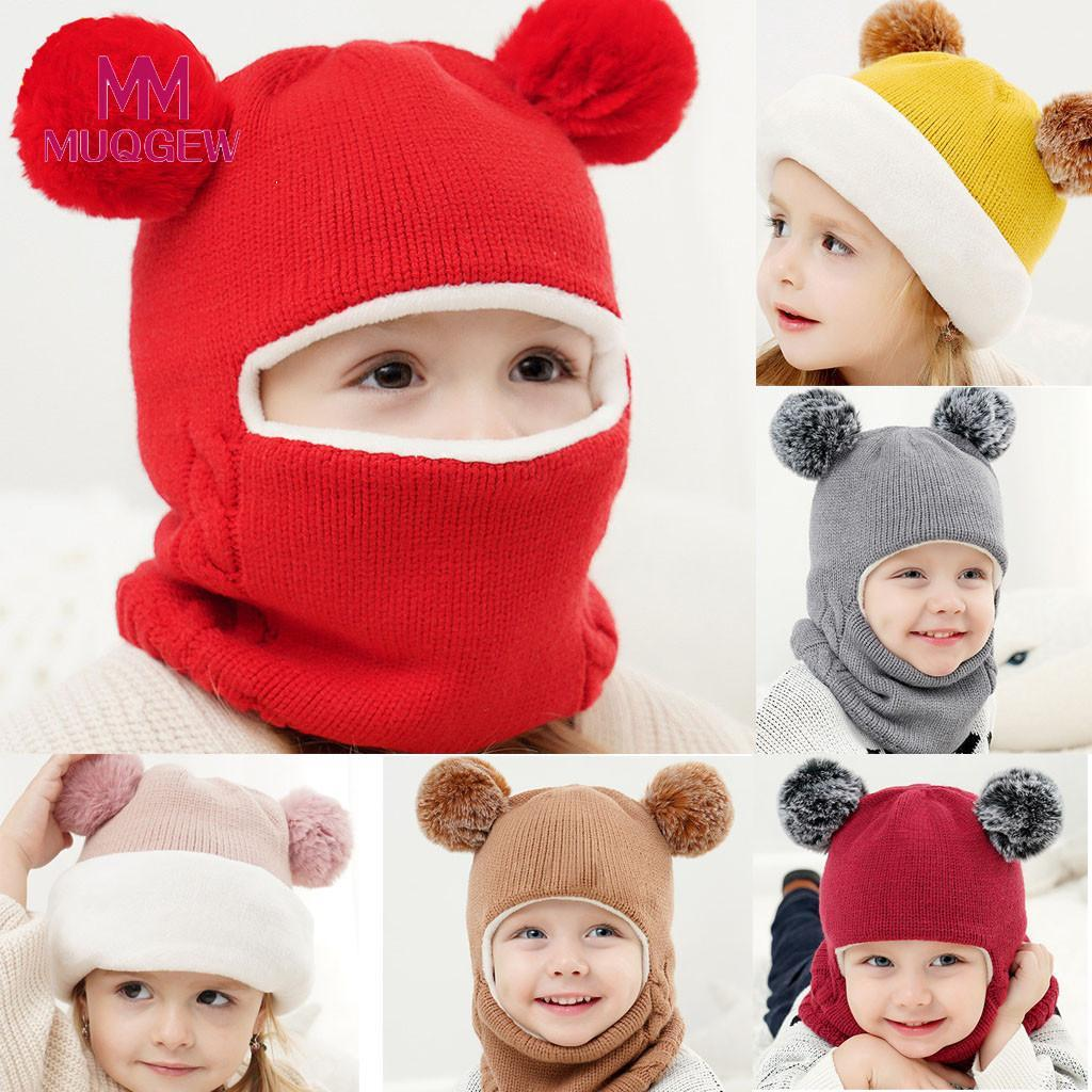 2019 MUQGEW Cute Kid Baby Boy Girl Hooded Scarf Caps Hat Cartoon Ear Winter  Warm Knit Flap Cap Scarf Delicately Crocheted Solid Hat From Entent d129770c89d