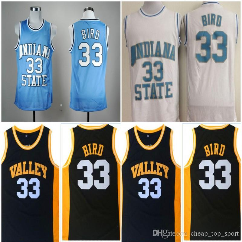 quality design 6c968 07d0a Mens Indiana State Sycamores Larry Bird #33 College Basketball Jerseys Baby  Blue Vintage Larry Bird Valley High School Stitched Shirts S-XXL