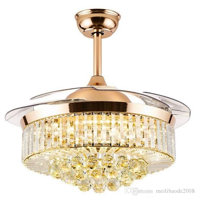 42 Pollici oro moderna Crystal LED salotto moderno Bianco Ventilatore a soffitto Lights Fixtures acrilico Foglia Led Ceiling Fan Kit luce a distanza Contr MYY