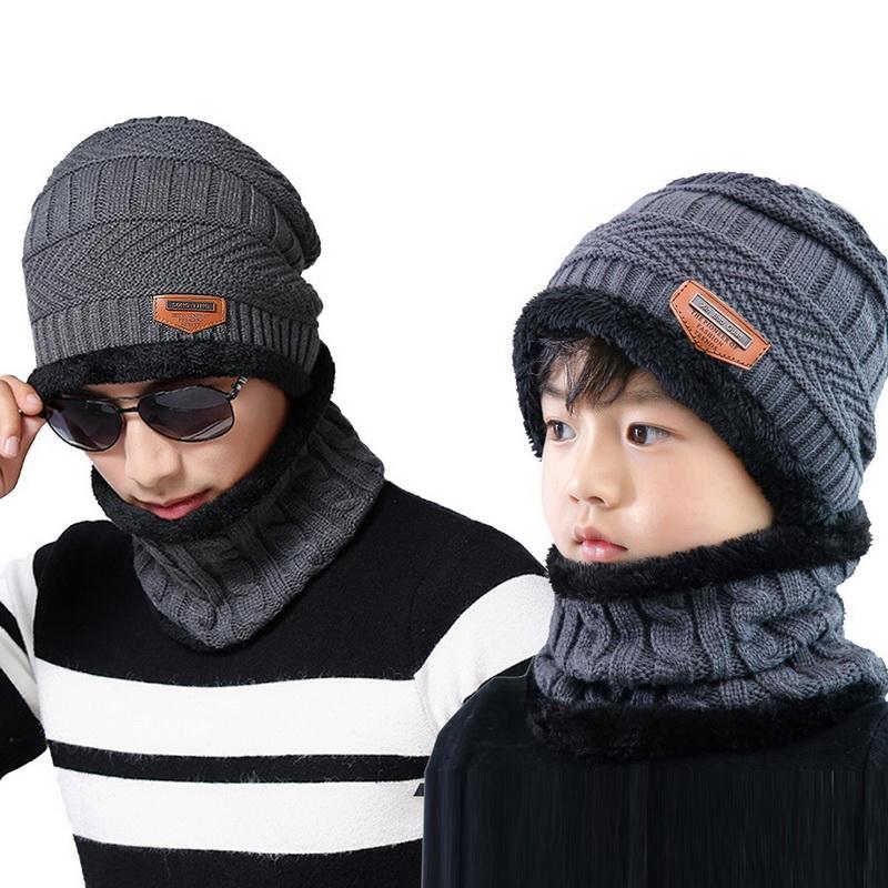 Compre NIBESSER Invierno Adulto Niños Gorros Hombres De Punto Sombrero  Gorras Máscara Capo Baggy Cálido Sombreros Para Hombres Niños Fleece  Forrado Grueso ... 4a8d7e2212c