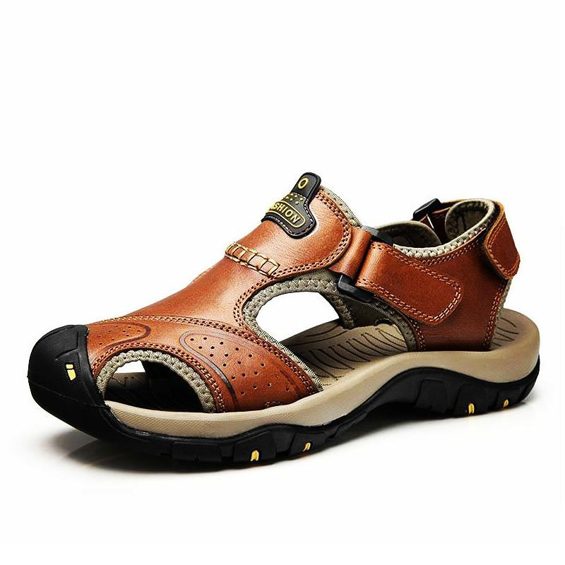 6d9f91c05b1 Brand Summer Genuine Leather Sandals Men Casual Shoes Sneakers Outdoor  Beach Shoes Native Male Rubber Sole Sandals Sport Ladies Sandals Girls  Sandals From ...