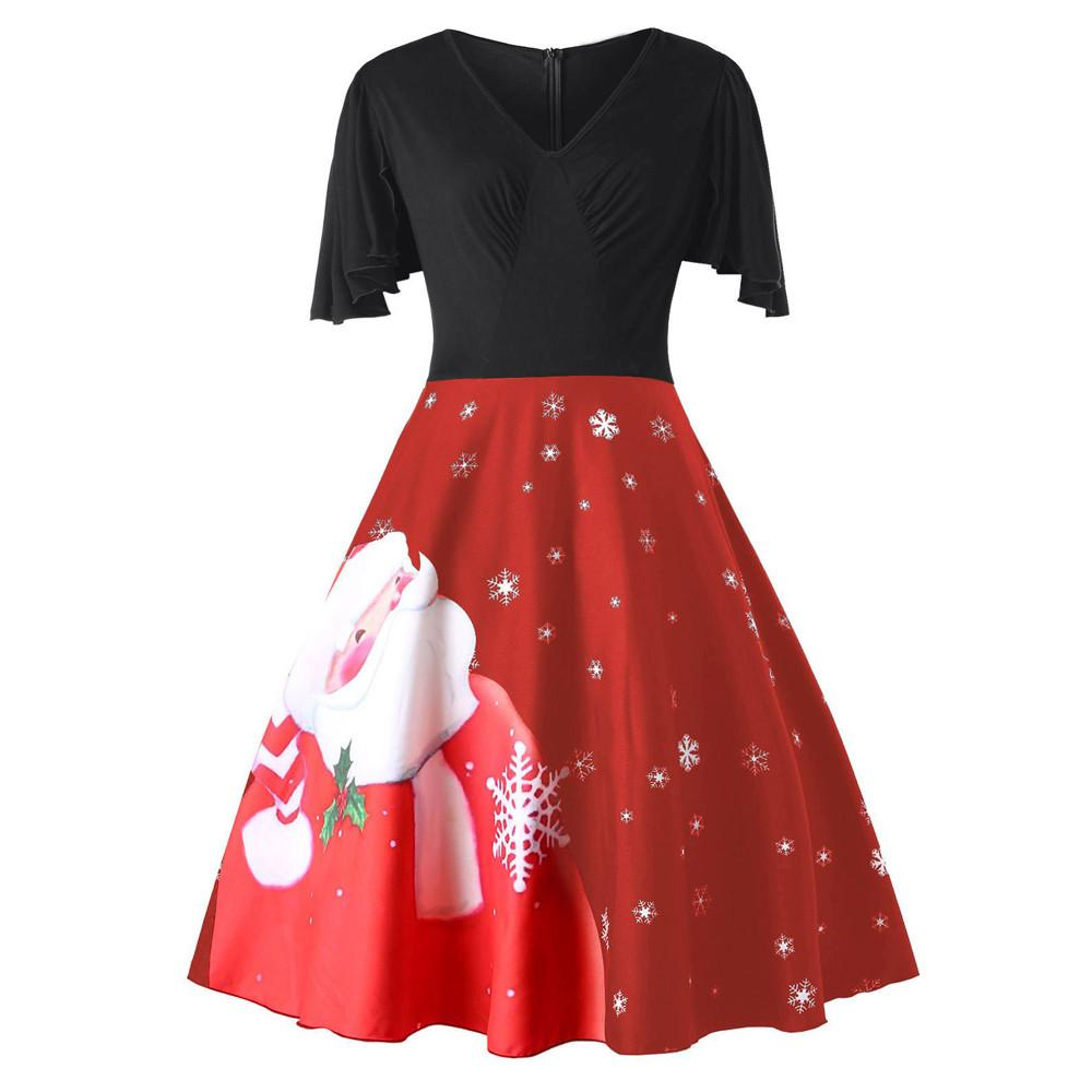Plus Size Christmas Dress Fashion Vintage Women s Santa Claus Print V-Neck  Party Dress Short Sleeve Ruffles A-Line Dresses /PT
