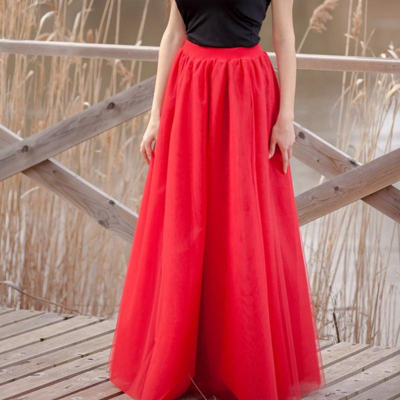 dfbd19917 Custom Red Long Tulle Skirt Chic Secret Puff Tul Maxi Tutu Faldas para  mujer Drapeado Falda femenina Saia Jupe Faldas 5XL