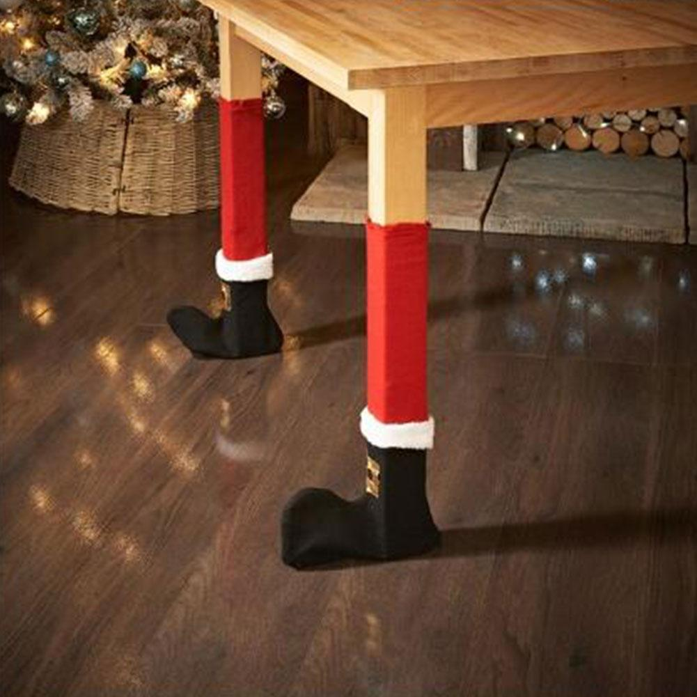 Christmas Chair table Leg foot socks Covers Prevent Scraping Cloth Santa Claus Sock Sleeve Cover Home Decor DIY Gift