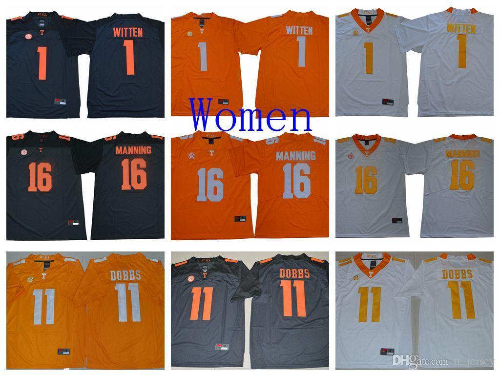 the latest 3462a 6b9b5 NCAA Women Tennessee Volunteers Jersey Jason Witten Joshua Dobbs 16 Peyton  Manning Football Jerseys White Orange Custom College Jersey