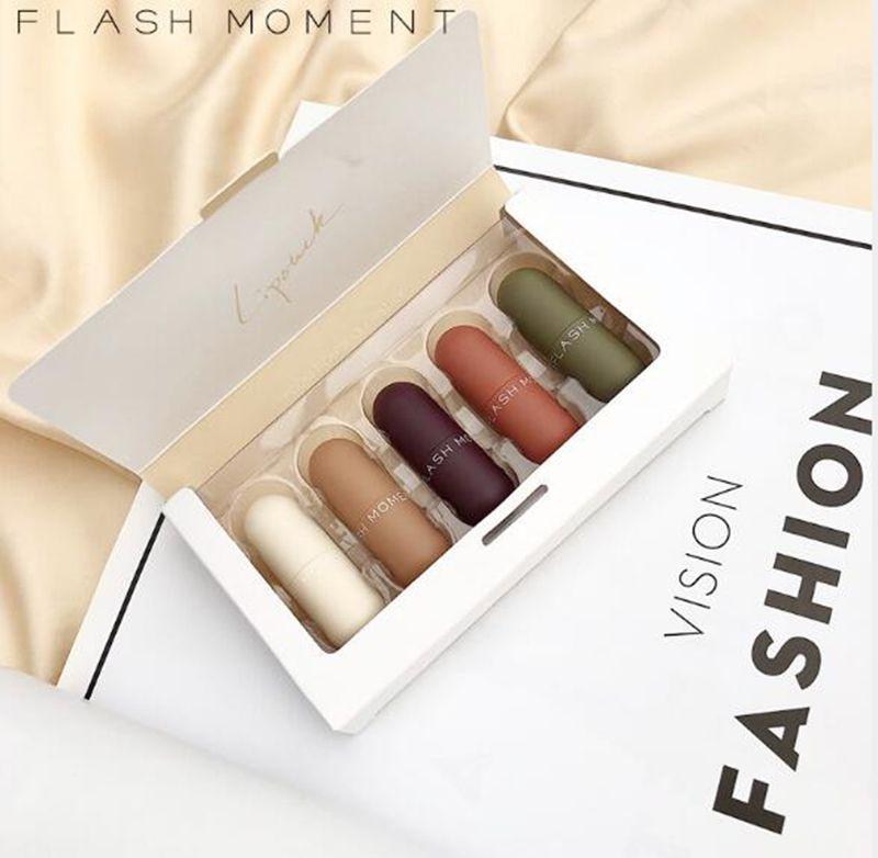 Marke Pudaier Flash Moment 5 teile / los Mini Kapsel Matte Lippenstift Set Wasserdicht Velvet Red Tint Nude Lip Kit Make-up Glanz