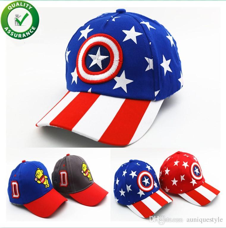 ... Sombreros Niños Gorra De Béisbol Niños Niñas Dibujos Animados Capitán  América Snapback Ajustable Niños Hip Hop Sombrero Sombreros Para El Sol Moda  ... 7a9288101f8