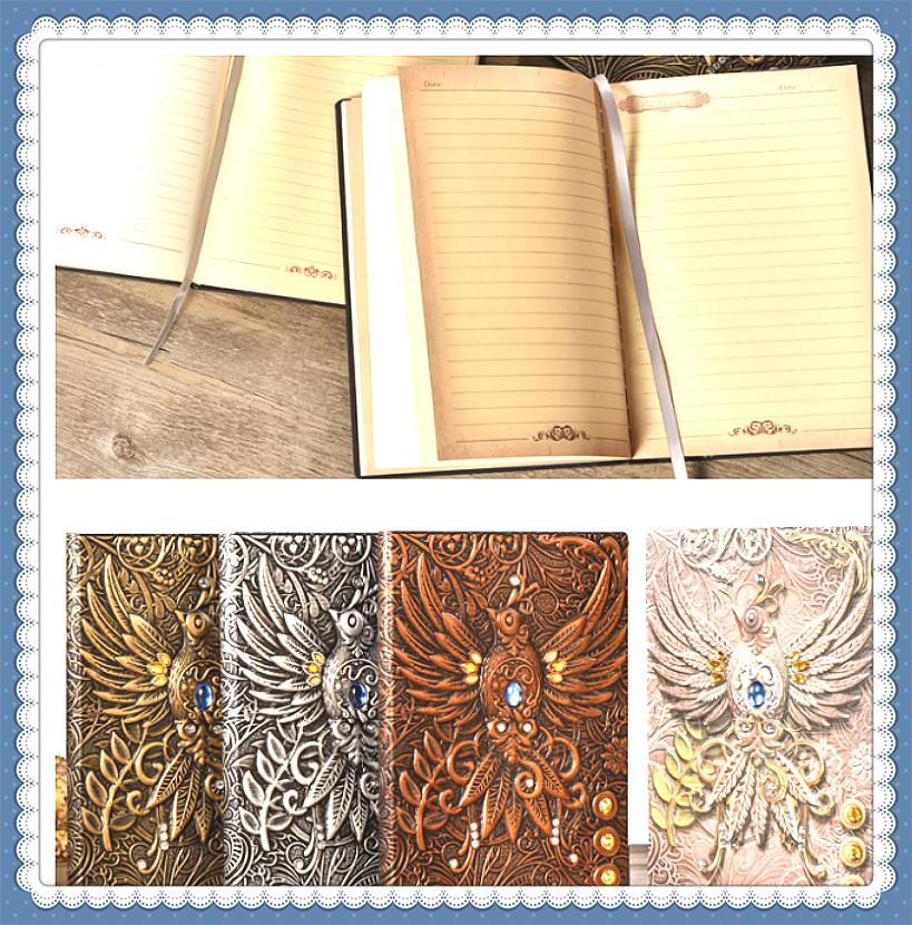 2020 new arrival spirit bird journal notebook retro pirate strap notepad PU material diary book stationery supplier