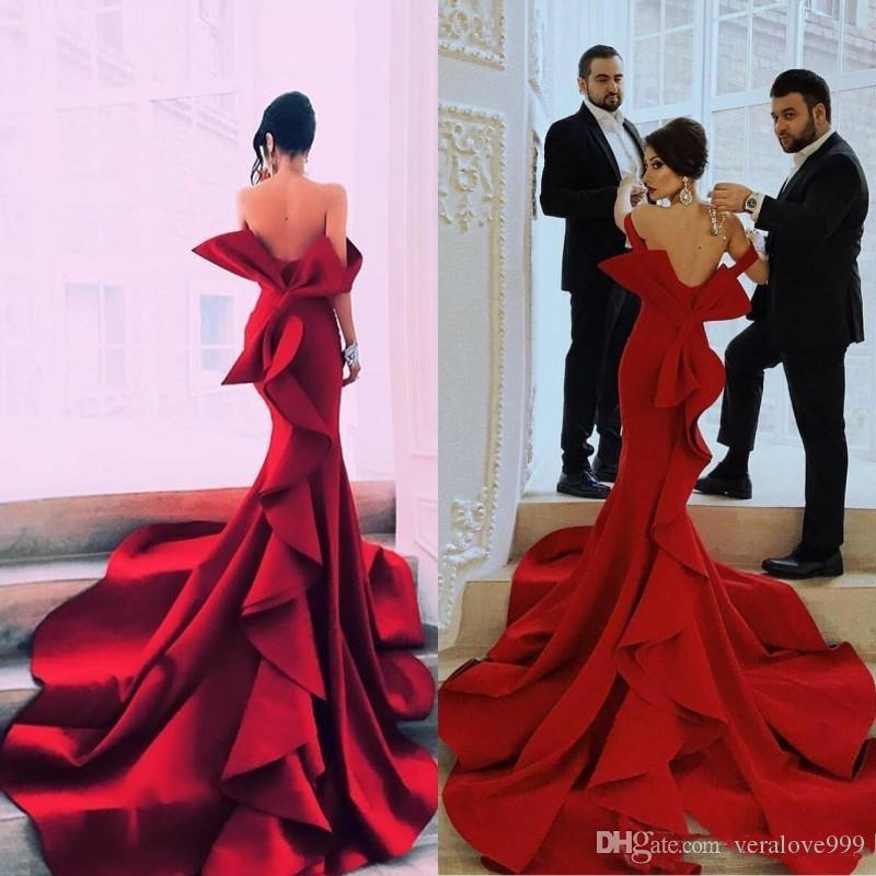 Fabulous Mermaid Prom Dresses Sexy Off Shoulder Bow Zipper Backless Celebrity Party Gowns Dubai Satin Chapel Train Evening Dress