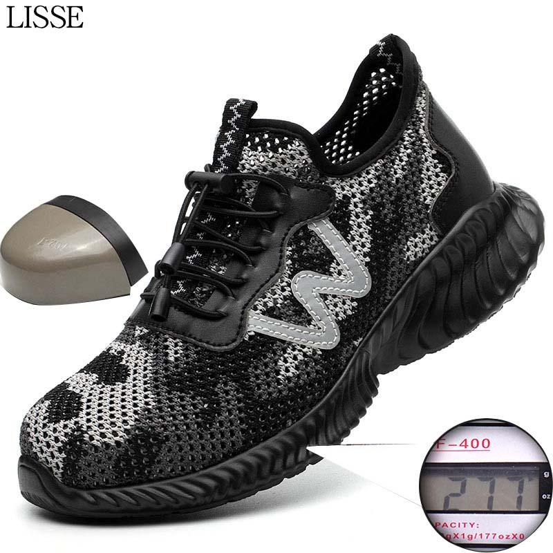 men and women protective shoes big net breathable safety shoes insulated light steel headgear summer casual sneakers