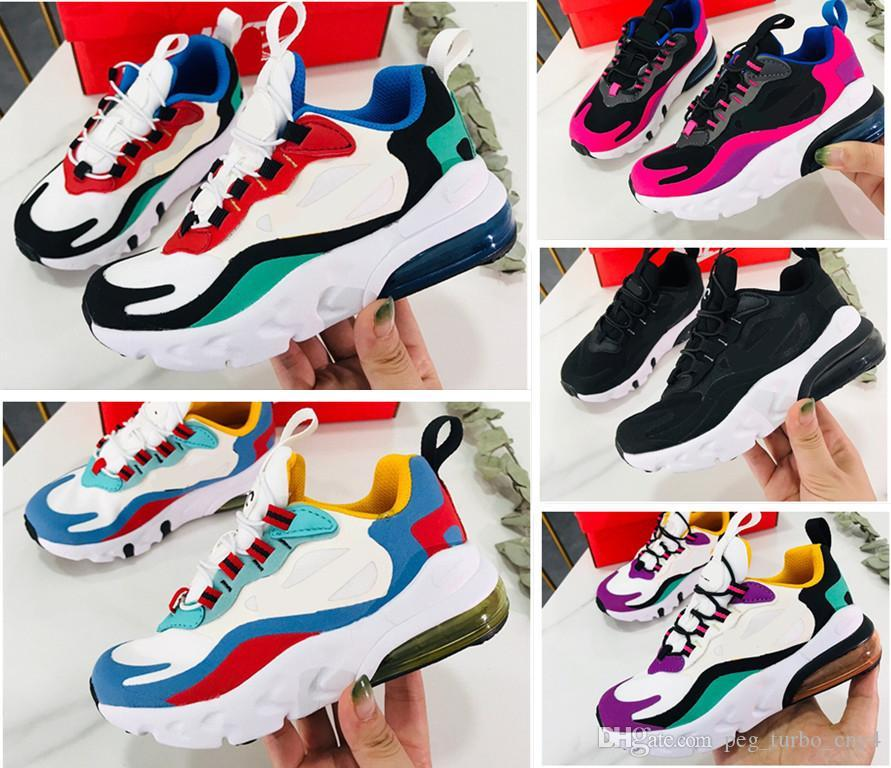 27C React Bauhaus TD Kids Shoes For Boy Girls Running Shoes Hyper Pink Bright Violet Toddler Children Sneakers baby gift 24-35