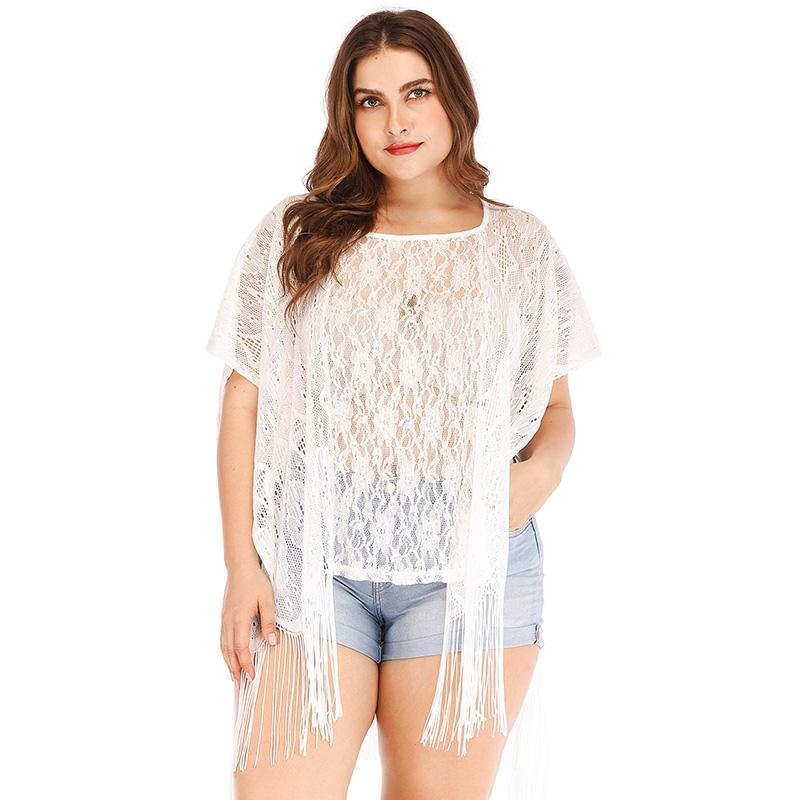 10da152ad5927 2019 2019 Sexy Plus Size Women Beach Cover Up Floral Lace Fringed Sheer  Bikini Top Swimsuit Coverups White Tops Female Tunic Oversize From  Victoriata
