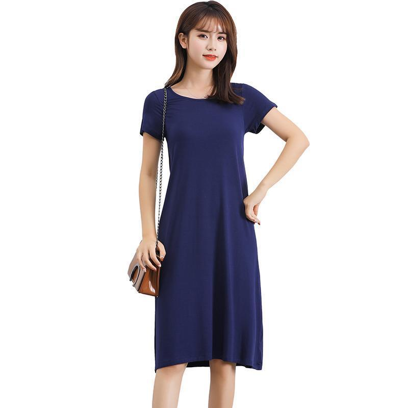ca0defa9d01f Women Basic T Shirt Dress Solid Stretchy Round Neck Short Sleeve Casual  Summer Dress 2019 Midi A Line Slim Casual One Piece Long Summer Dresses  Silk Dress ...
