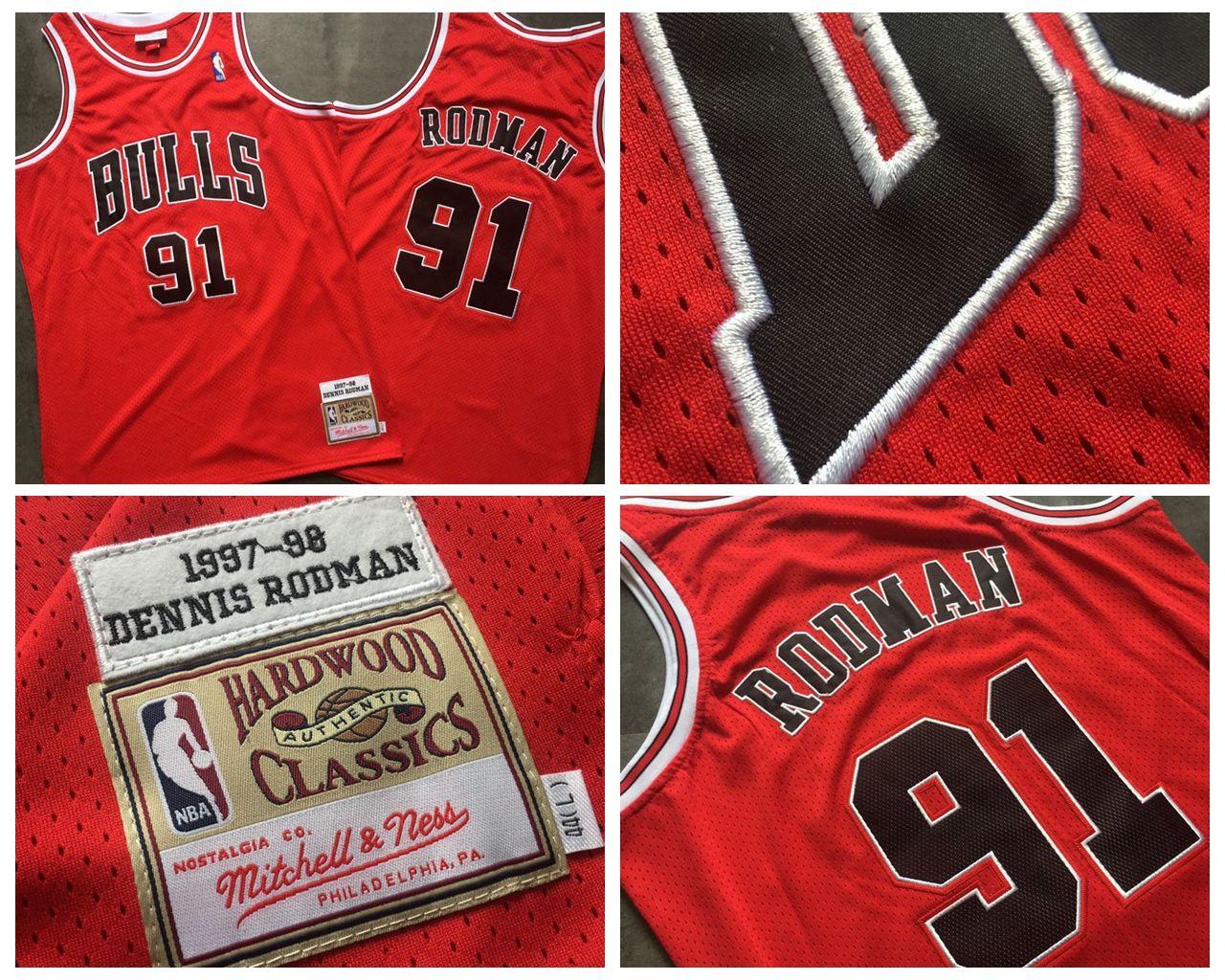 best website 66b50 01f8a Mitchell Ness Chicago Basketball Bulls Jersey 91# Dennis Rodman Dense AU  Fabric 1997-98 Mesh Retro Red Embroidery Jerseys