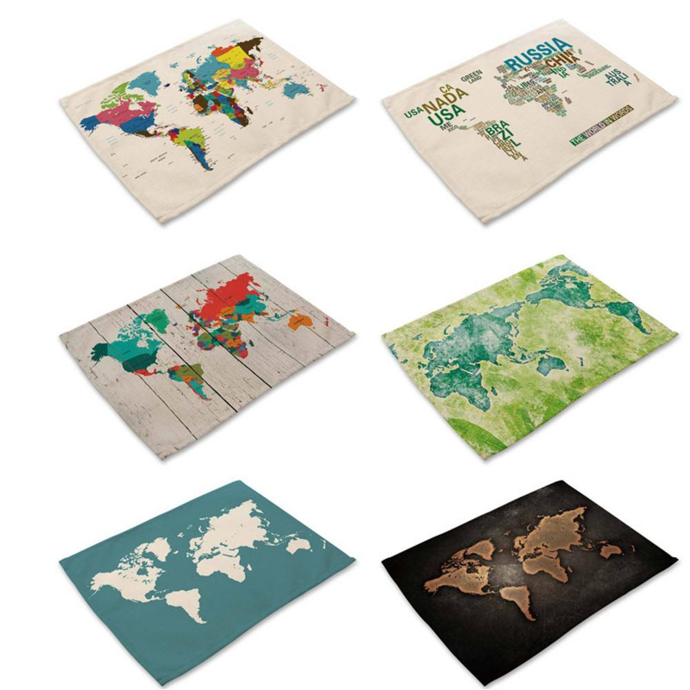 Map Of World Patterns Placemat Printing Cotton Linen Tableware Mat Pad