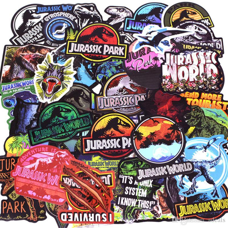 75Pcs/Lot Jurassic Park Dinosaur Stickers PVC Kids Toy Graffiti Sticker For Skateboard Luggage Laptop Guitar Car Motorcycle