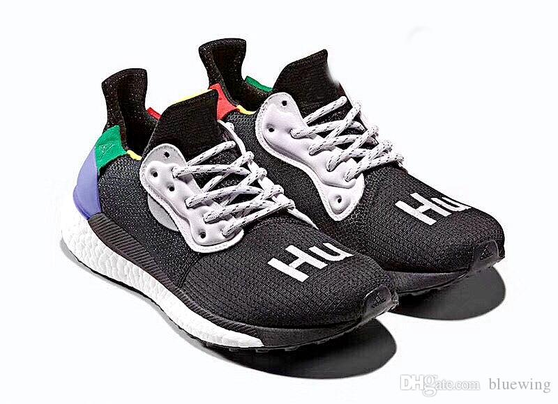 65ceb50d81f95 With Box Human Race Pharrell X Solar Hu Glide ST Running Shoes Pharrell  Williams Hu Trail Cream Core Black Equality Trainers Sports Sneakers Best  Running ...