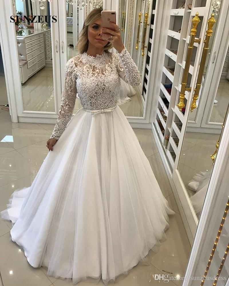 Appliques High Neck Bridal Dresses With Long Sleeves Pearls Beaded Wedding Gowns A Line Long Tulle Marriage Dress For Brides