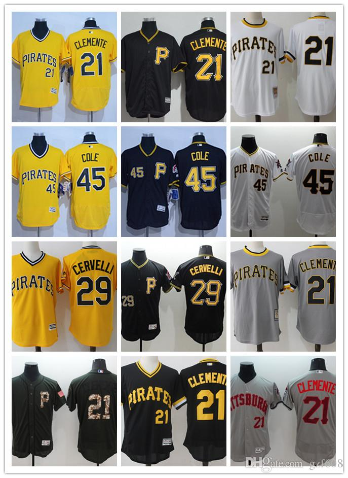 on sale 59f24 74161 custom Men s women youth Pittsburgh Pirates Jersey #21 Roberto Clemente 29  Francisco Cervelli 45 Gerrit Cole Yellow Baseball Jerseys