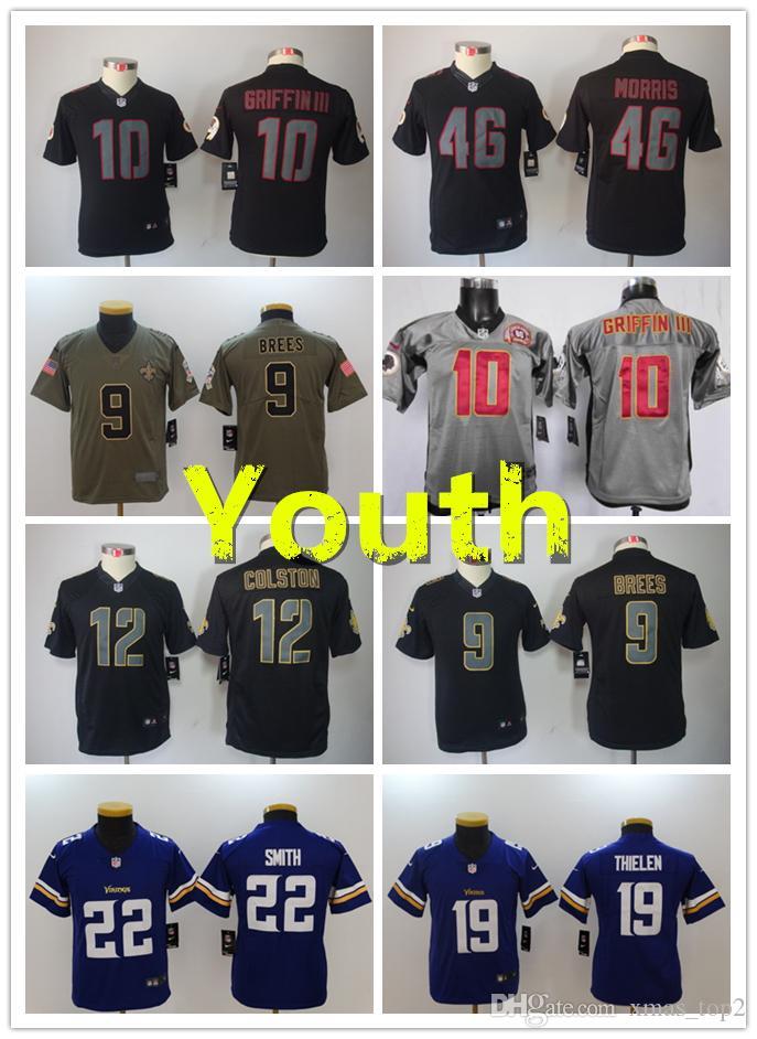 New Youth Football Jerseys 10 Robert Griffin 46 Alfred Morris 9 Drew Brees  12 Colston 19 Adam Thielen 22 Harrison Smith Youth Kids Jerseys Long Sleeve  ... 27c492dc3