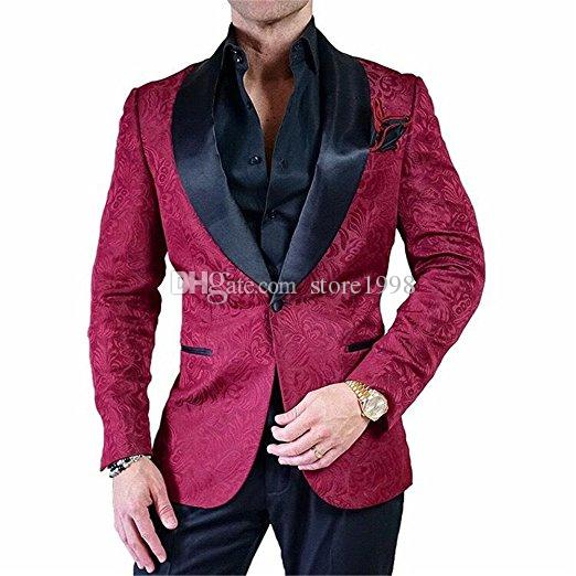 Hot Selling Groomsmen Shawl Black Lapel Groom Tuxedos One Button Men Suits Wedding/Prom/Dinner Best Man Blazer ( Jacket+Pants+Tie) G43