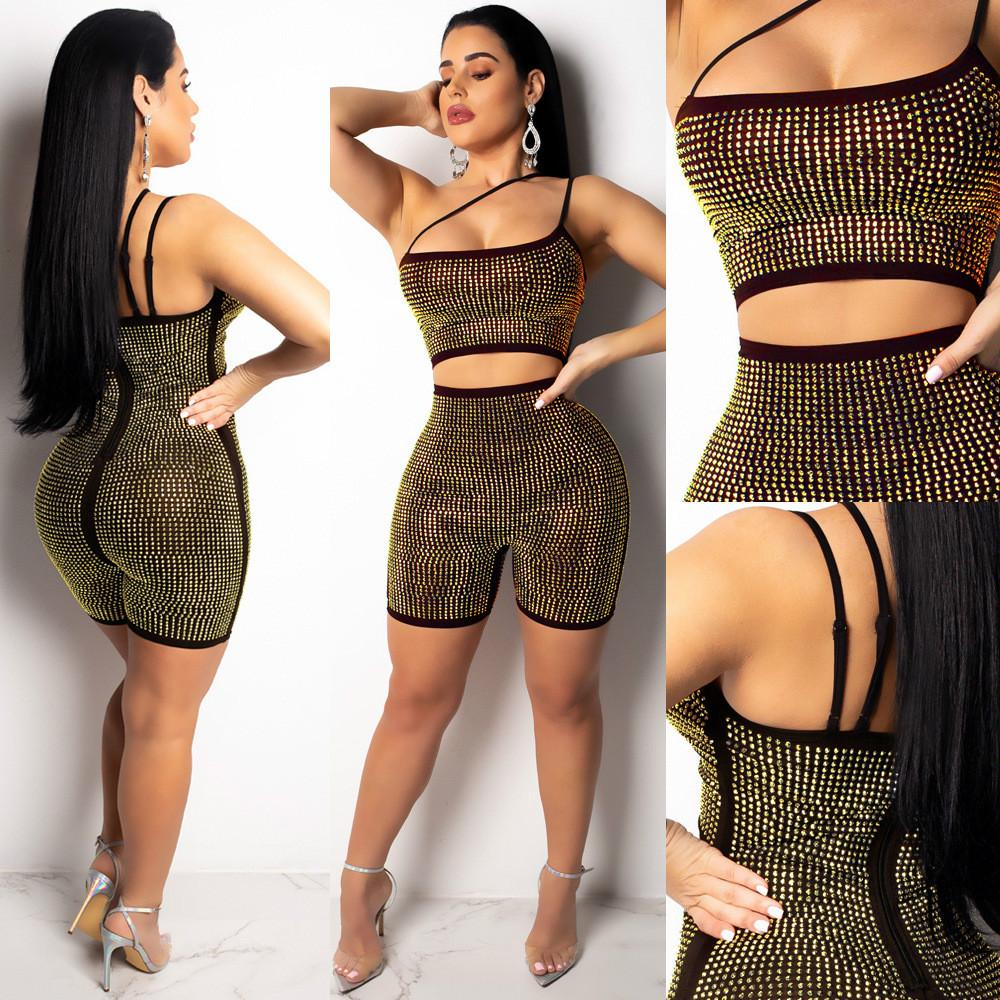 Fashion Women Sexy Backless Deep Glitter Crew Neck Sleeveless Short Jumpsuit Sequins Party Club Rompers